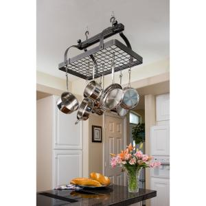 Enclume Premier Classic Rectangle Ceiling Pot Rack in Hammered Steel by Enclume