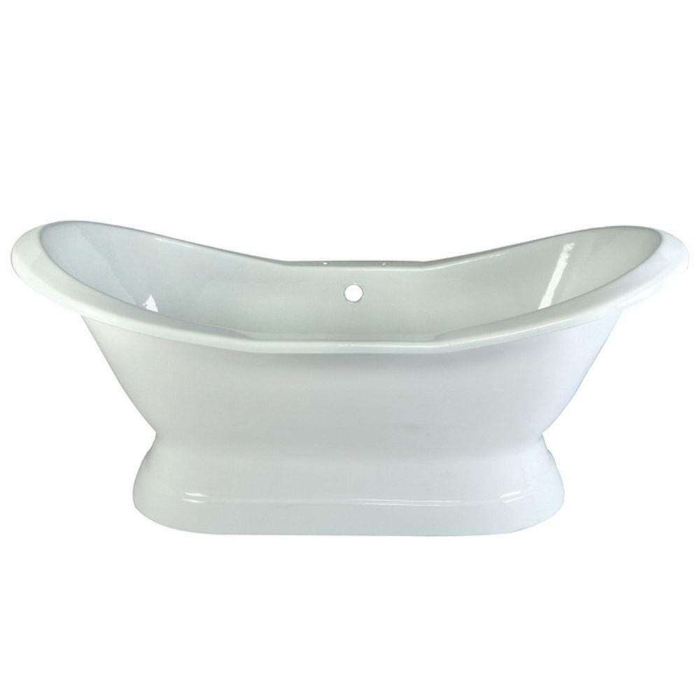 Aqua Eden 72 In Cast Iron Pedestal Double Slipper Flatbottom Bathtub In White With 7 In Deck Holes Yvct7d723130 The Home Depot