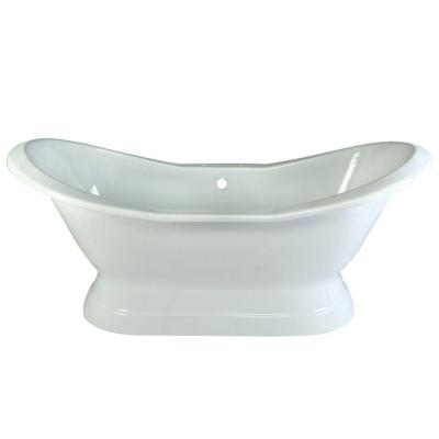 72 in. Cast Iron Pedestal Double Slipper Flatbottom Bathtub in White with 7 in. Deck Holes