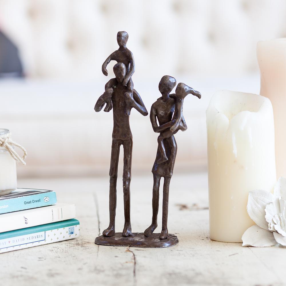Parents Carrying Children Bronze Sculpture