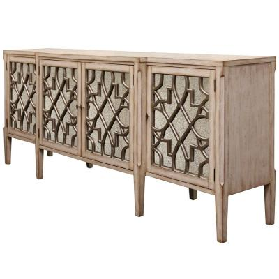 38 in. Brown Wood TV Stand 162 in. with Mirrored Doors