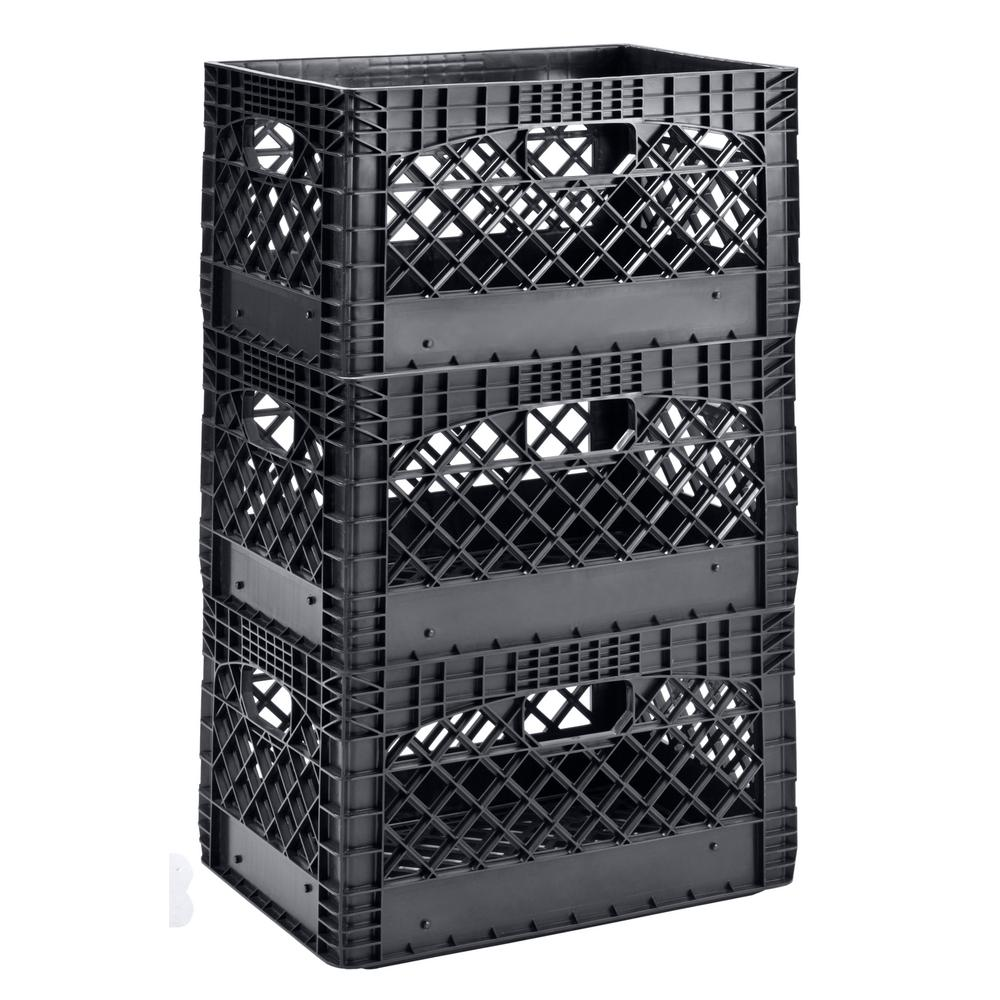Popular Muscle Rack 19 in. W x 11 in. H Stackable Plastic Milk Crate Bin  UK75
