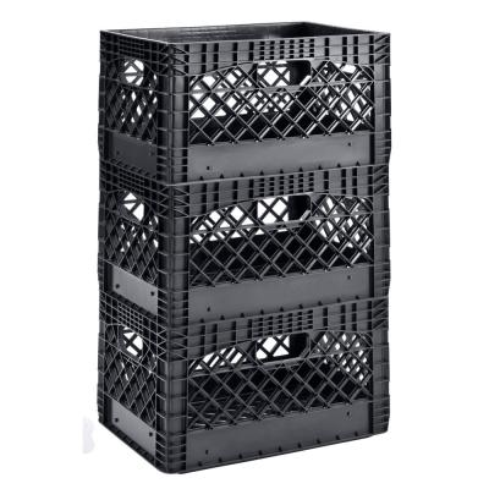 19 in. W x 11 in. H Stackable Plastic Milk Crate Bin in Black (3-Pack)
