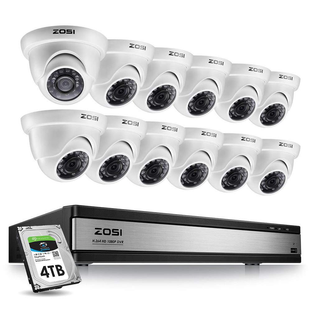 ZOSI 16-Channel 1080p 4TB DVR Security Camera System with 12 Wired Dome Cameras