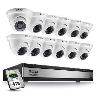 16-Channel 1080p 4TB DVR Security Camera System with 12 Wired Dome Cameras