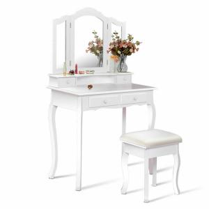 White Vanity Table With Drawers.4 Drawer White Vanity Makeup Dressing Table Set W Stool Mirror Jewelry Wood Desk