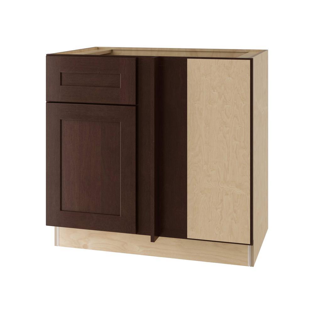 Home Decorators Collection Franklin Assembled 36x34.5x24 in. Single Door & Drawer Hinge Right Base Kitchen Blind Corner Cabinet in Manganite