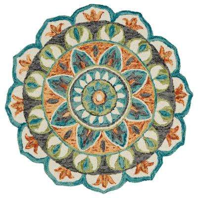 Dazzle Teal / Green 6 ft. Round Indoor Area Rug