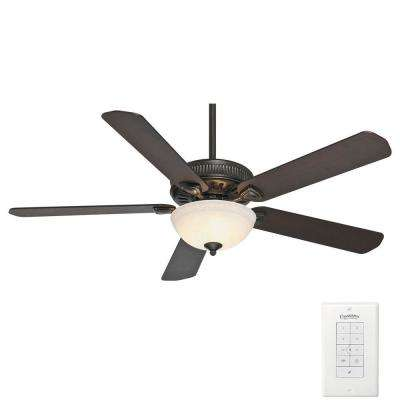 Ainsworth Gallery 60 in. Indoor Basque Black Ceiling Fan with 4-Speed Wall-Mount Control