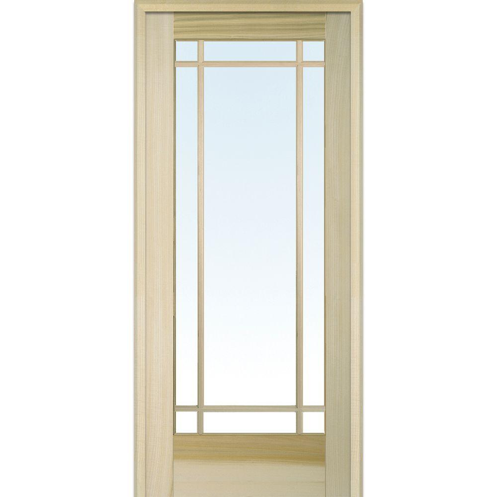 MMI Door 32 In. X 80 In. Right Handed Unfinished Poplar Wood Clear Glass
