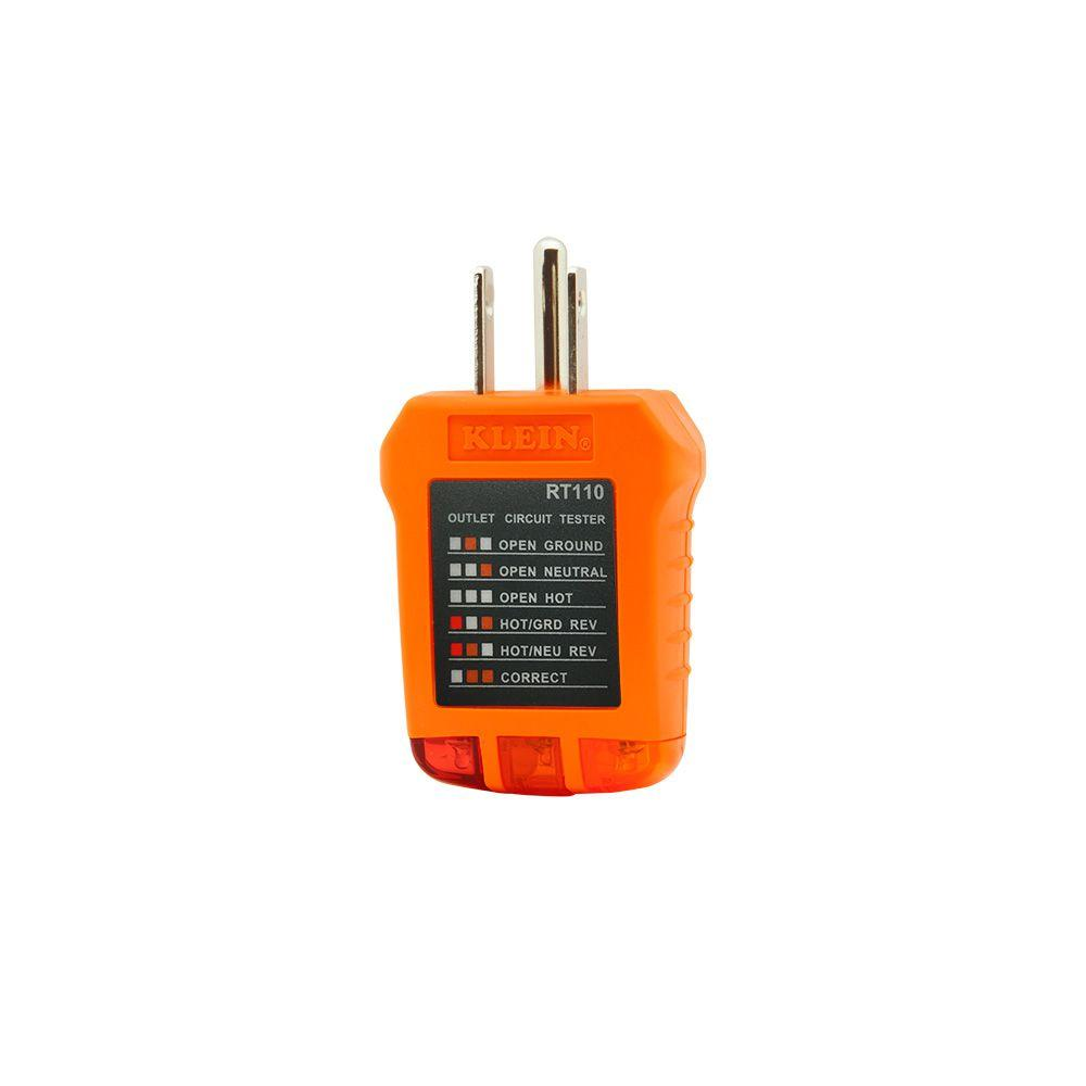 Klein Tools Receptacle Outlet Tester Rt110 The Home Depot Wiring A House For Telephone Free Download Diagrams Pictures