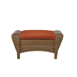 Beacon Park Brown Wicker Outdoor Patio Ottoman with CushionGuard Quarry Red Cushions