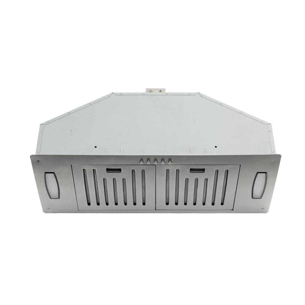 KOBE Range Hoods 30 in. 750 CFM Insert Range Hood in Stainless Steel (Silver) KOBE Brillia 30 in. built-in/ insert range hood seamlessly fits with custom cabinetry approximately 30 in. wide without the need for a liner. High performance with 750 CFM internal blower and operates very quietly at 1.0 son one QuietMode. This hood is equipped with 3-speed mechanical push button, dishwasher-safe baffle filters, and LED lights. Optional 35-1/8 liner is available for purchase. Color: Stainless Steel.