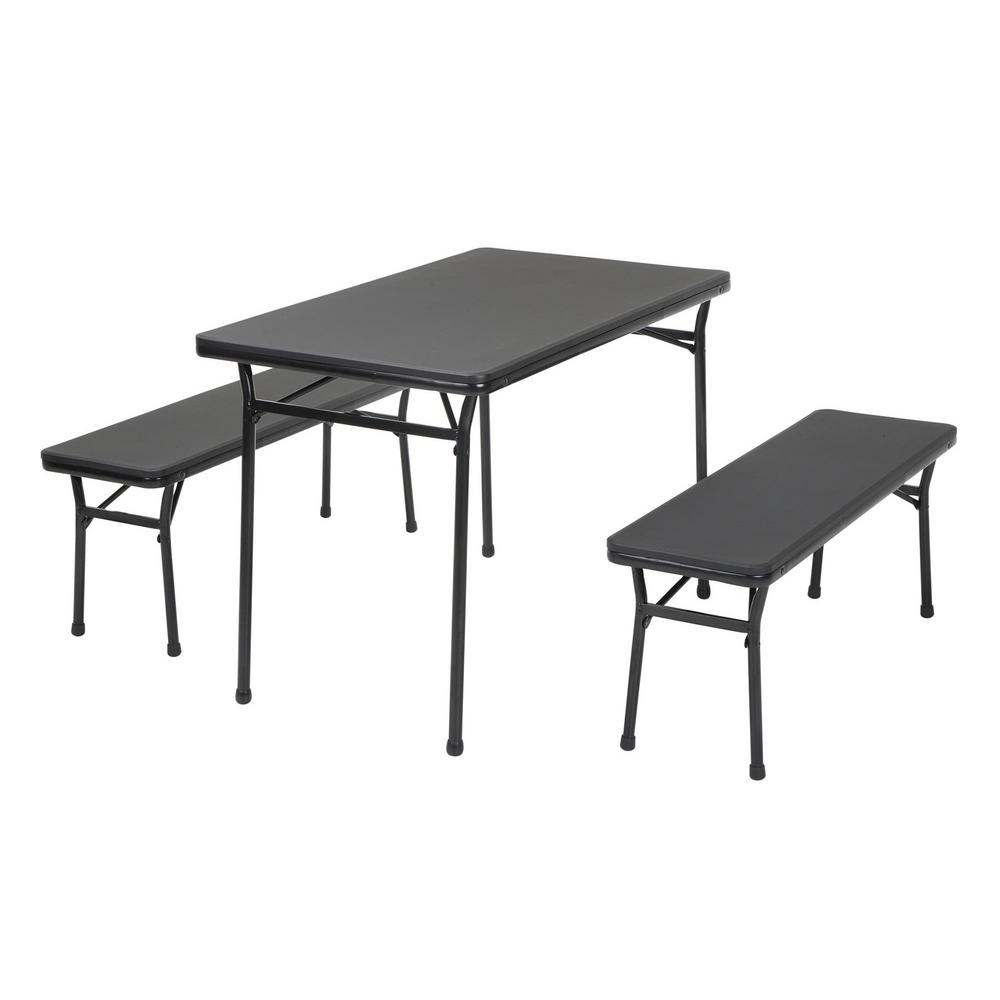 3 Piece Black Portable Outdoor Safe Folding Table Bench Set