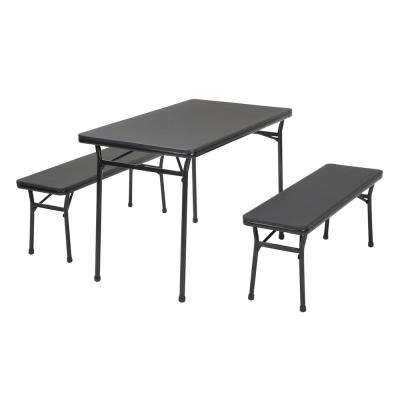 table and bench set. 3-piece black folding table and bench set