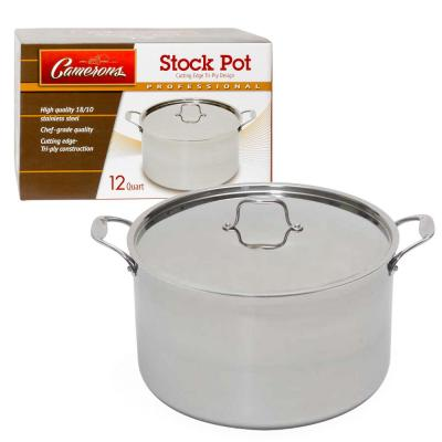 12 Qt. Full Tri-ply Body Professional Grade Stainless Steel Stock Pot