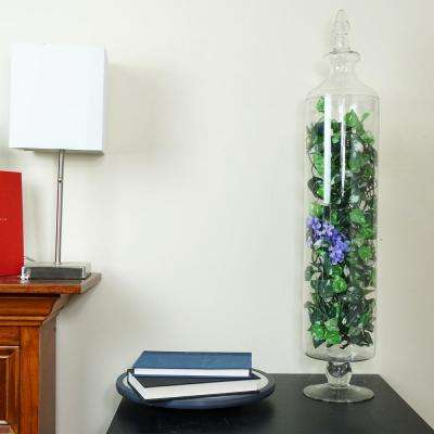 29 in. Transparent Glass Cylindrical Jar with Finial Topped Lid