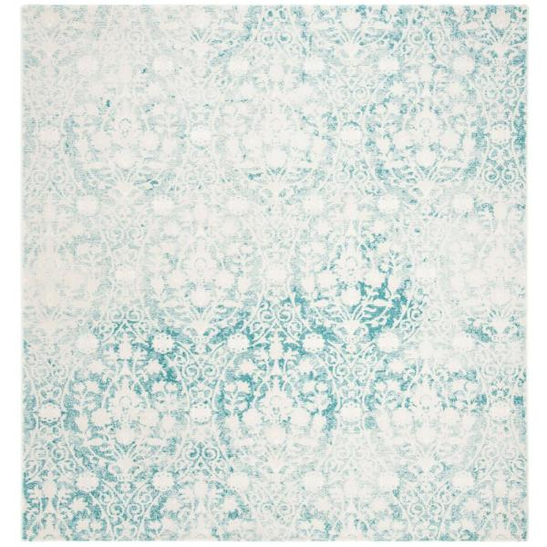 Passion Turquoise/Ivory 6 ft. 7 in. x 6 ft. 7 in. Square Area Rug