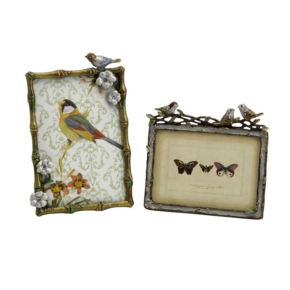 Filament Design Lenor 1-Opening 5 in. x 5 in. Multicolored Bird Picture Frames (Set of 2)