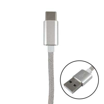 6 ft. Braided USB C to USB A Cable, Silver