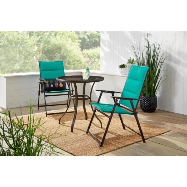 Stylewell Mix And Match Steel Padded Sling Folding Outdoor Patio Dining Chair In Emerald Coast Green 2 Pack Fds50249 2pk Ec The Home Depot