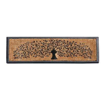A1HC First Impression 16 in. x 48 in. Hand-Crafted Molded Rubber Coir Tree Double Door Mat