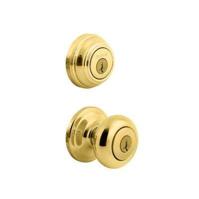 Juno Polished Brass Exterior Entry Knob and Single Cylinder Deadbolt Combo Pack featuring SmartKey