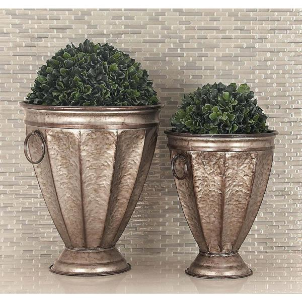 Litton Lane 20 in. x 17 in. Rustic Iron Silver Bell-Shaped Planters (Set of 2)