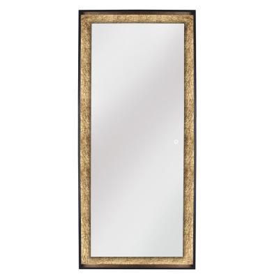 Apollo 28 in. W x 64 in. H Framed Freestanding Mirror with Touch On/Off in Gold