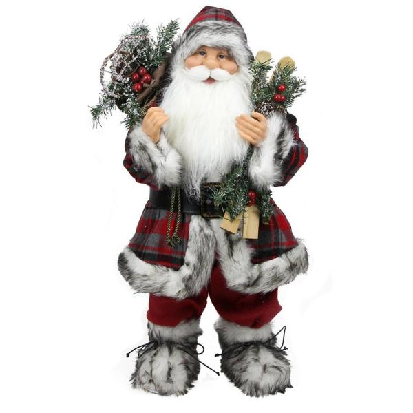 Northlight 24 In Alpine Chic Standing Santa Claus With Frosted Pine Snowshoes And Skis Christmas Figure 31734270 The Home Depot