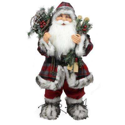 24 in. Alpine Chic Standing Santa Claus with Frosted Pine Snowshoes and Skis Christmas Figure