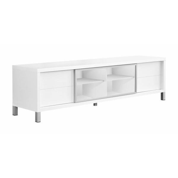 71 in. White Composite TV Stand with 4 Drawer Fits TVs Up to 71 in. with Storage Doors