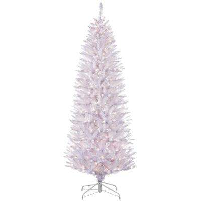 6.5 ft. Pre-Lit Incandescent White Pencil Fraser Fir Artificial Christmas Tree with 250 UL-Listed Clear Lights