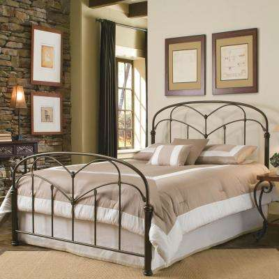 Pomona Hazelnut California King Complete Bed with Arched Metal Grills and Detailed Posts