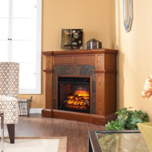 Glen Cove 45.5 inch W Corner Faux Stone Infrared Electric Fireplace in Oak by