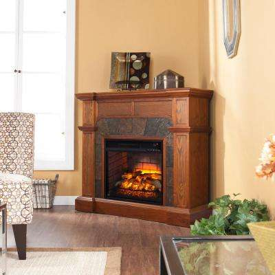 Glen Cove 45.5 in. W Corner Faux Stone Infrared Electric Fireplace in Oak