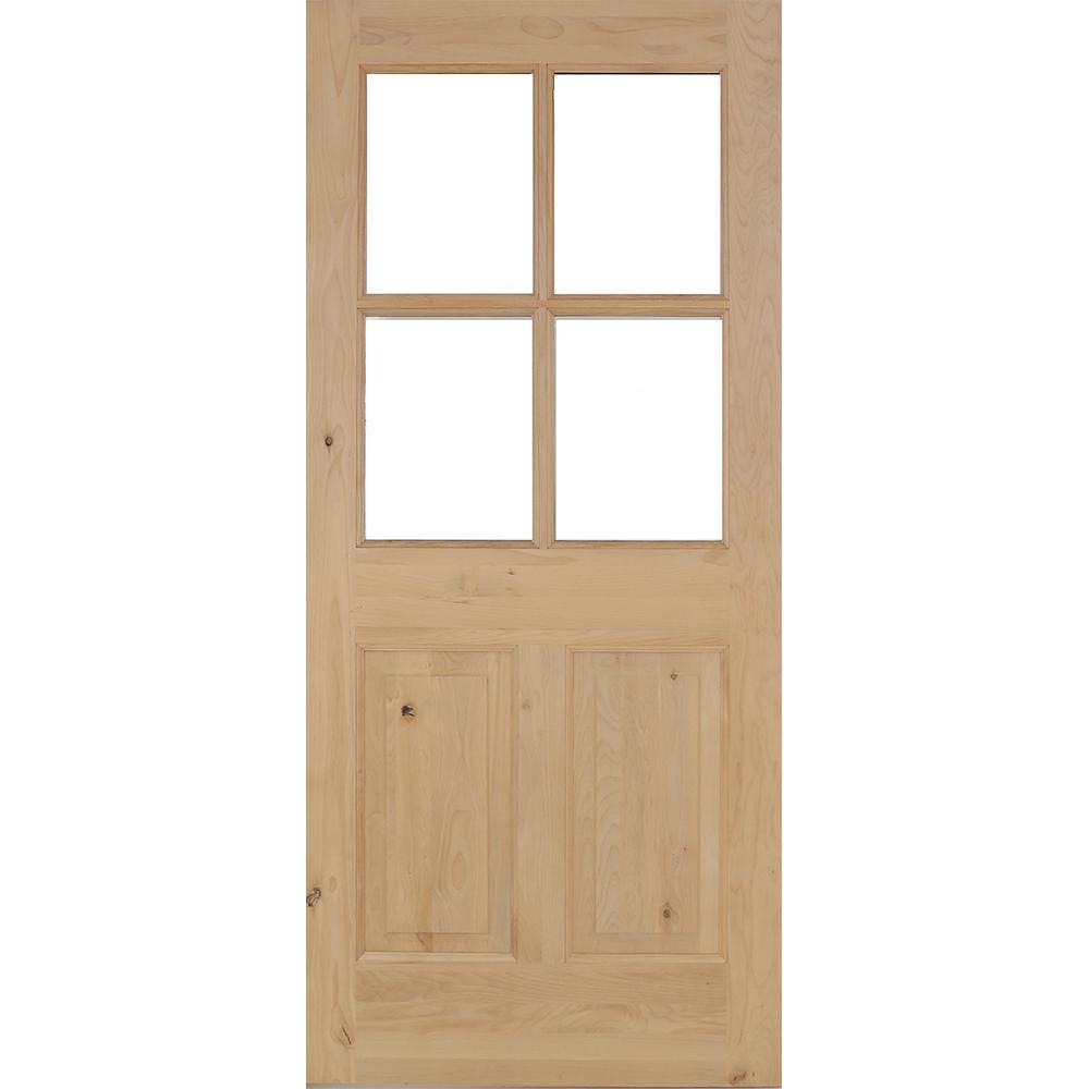 Krosswood Doors 32 in. x 80 in. Rustic Knotty Alder 4-Lite Clear Glass 2-Panel Unfinished Wood Front Door Slab