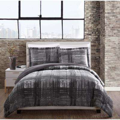 Camden Plaid Gray Queen Comforter Set