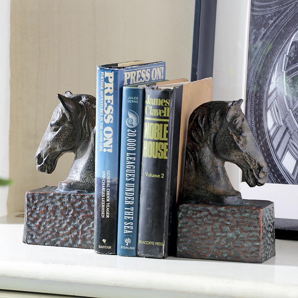 Bronze Metal Horsehead Bookends (Set of 2)