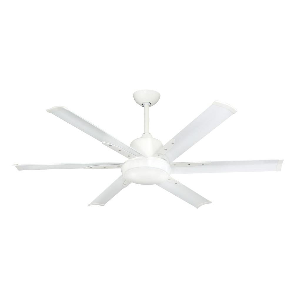 TroposAir DC 6 52 In. Indoor/Outdoor Pure White Ceiling Fan With Light