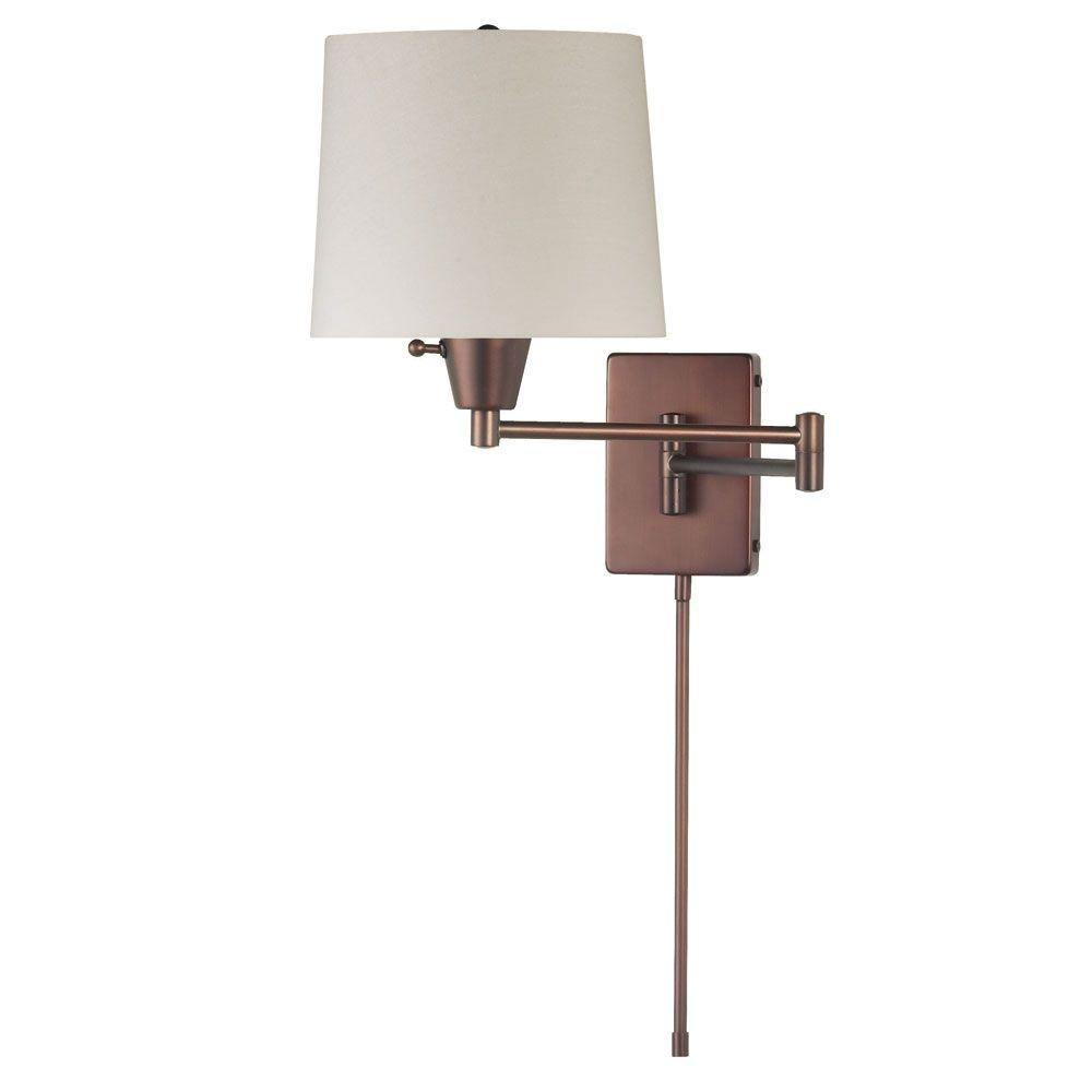 Filament Design Andree 1-Light Oil-Brushed Bronze Wall Lamp with Cream Fabric Shades