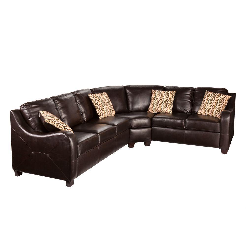 Southern Enterprises Brown Leather Donatello 3-Piece Sectional