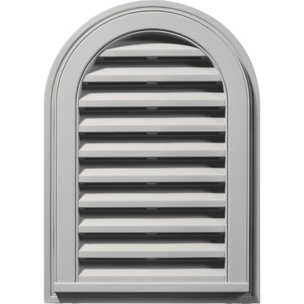 Builders Edge 14 in. x 22 in. Round Top Gable Vent in Paintable