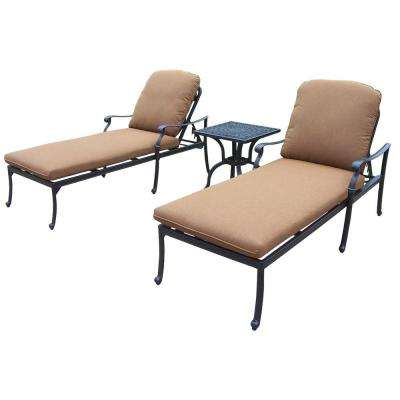 Cast Aluminum 3 Piece Patio Chaise Lounge Set With Sunbrella Cushions