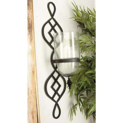 36 in. x 9 in. Traditional Black Iron and Glass Candle Wall Sconce