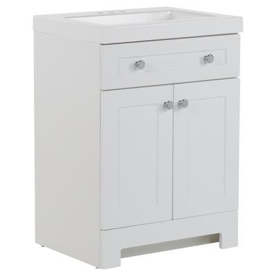 Everdean 24.5 in. W x 19 in. D x 34 in. H Bath Vanity in White with Cultured Marble Vanity Top in White with White Sink