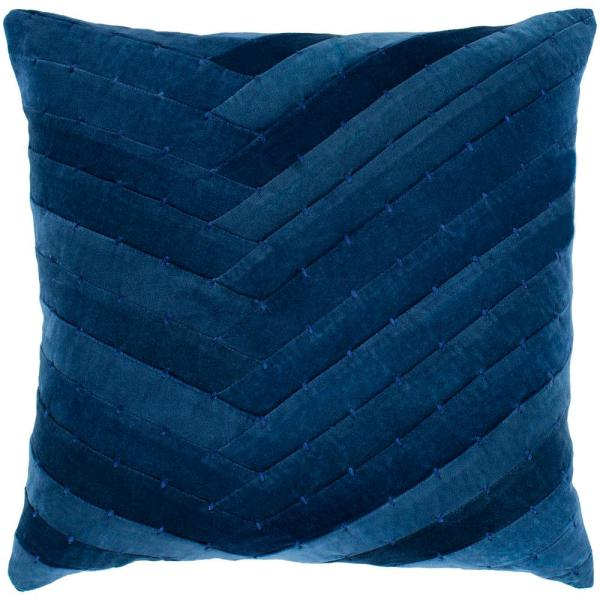 Arati 22 in. x 22 in. Navy Solid Textured Down Standard Throw Pillow