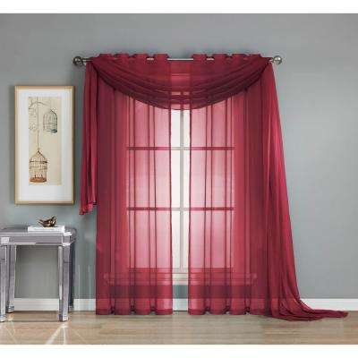 Solid Voile Sheer 216 in. L Polyester Curtain Scarf in Burgundy
