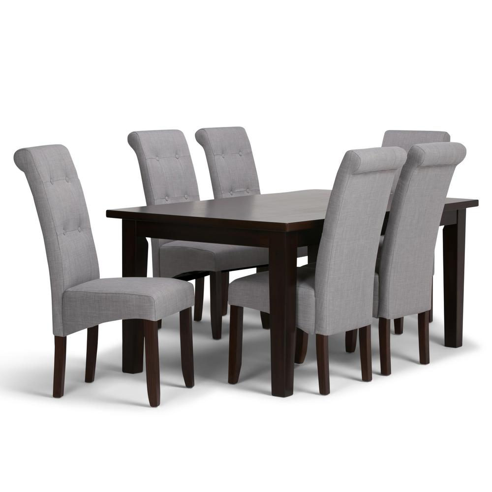 Simpli Home Cosmopolitan 7 Piece Dining Set With 6 Upholstered Chairs In Dove Grey