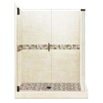 Tuscany Grand Hinged 32 in. x 36 in. x 80 in. Left-Hand Corner Shower Kit in Desert Sand and Old Bronze Hardware